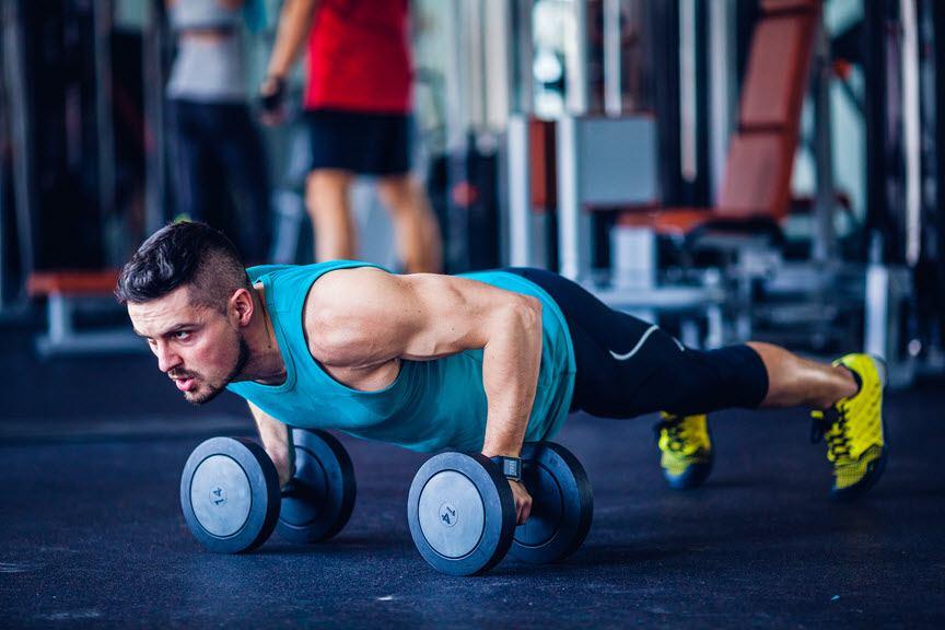 gym press ups dumbells