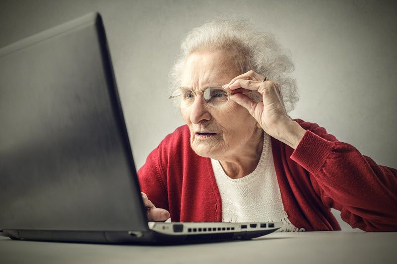 old lady on pc